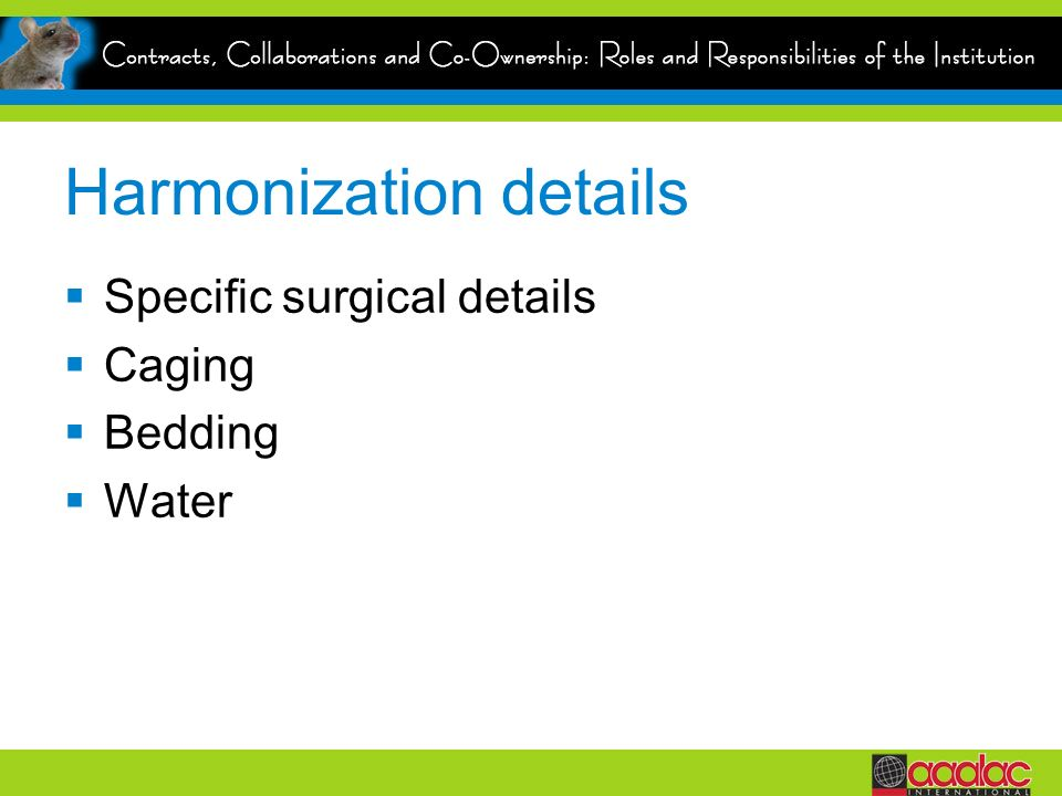 Harmonization details