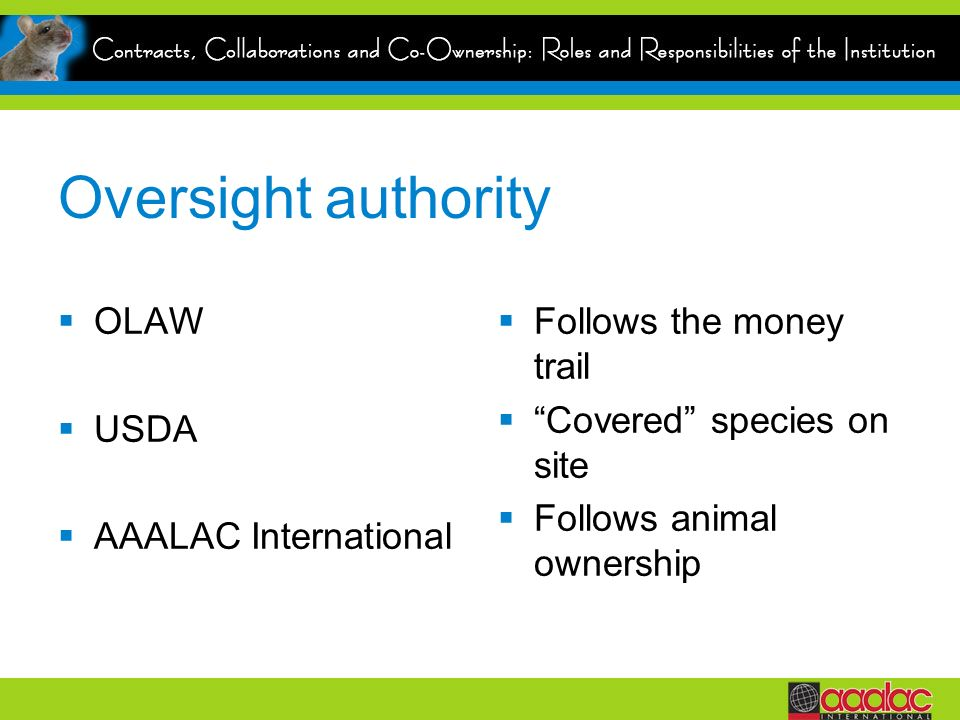 Oversight authority OLAW USDA AAALAC International