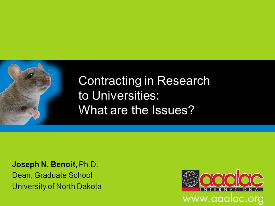 Contracting in Research to Universities: What are the Issues