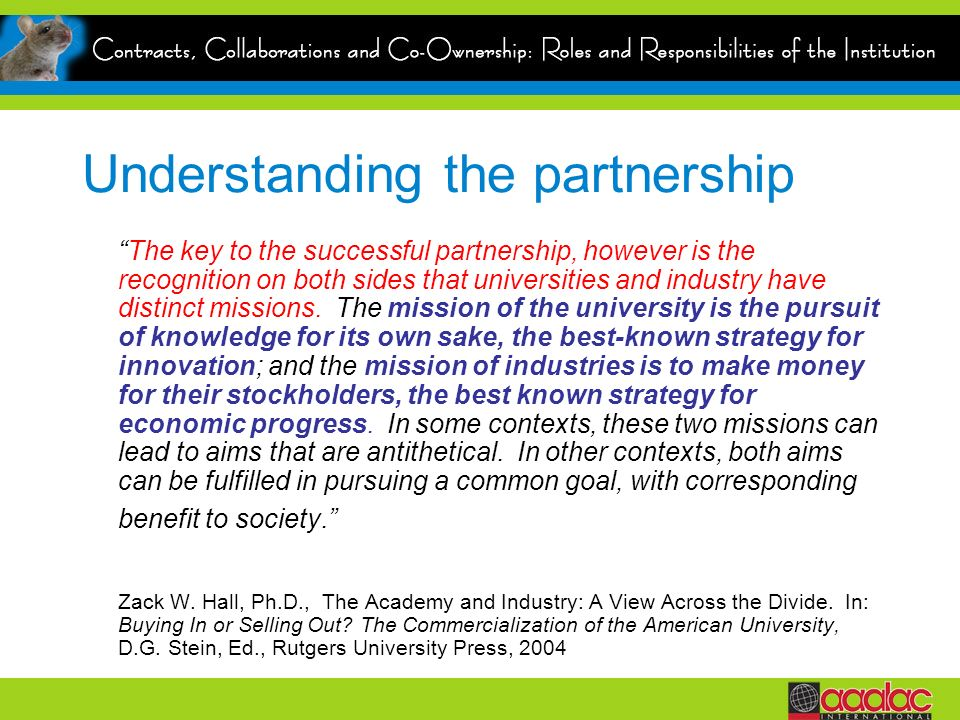 Understanding the partnership