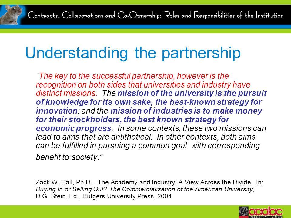 Understanding the partnership