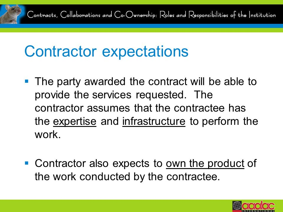 Contractor expectations