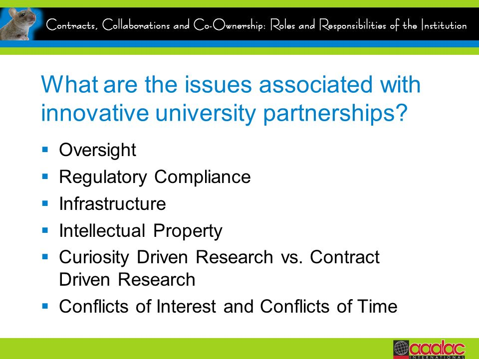 What are the issues associated with innovative university partnerships