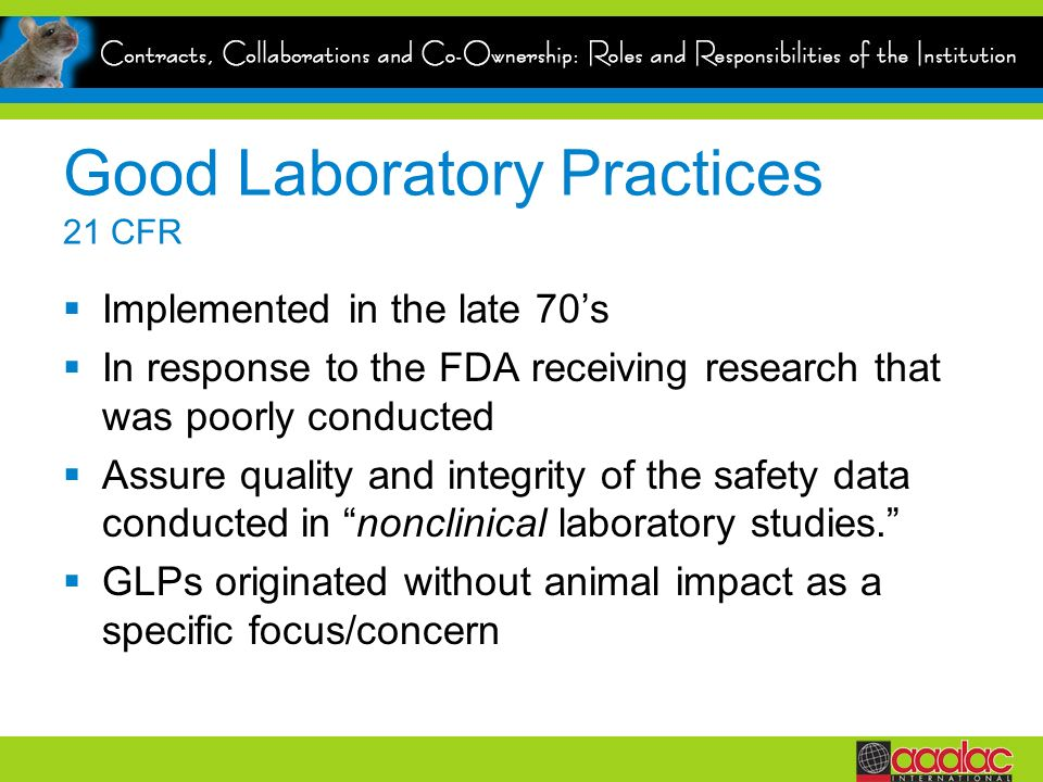 Good Laboratory Practices 21 CFR
