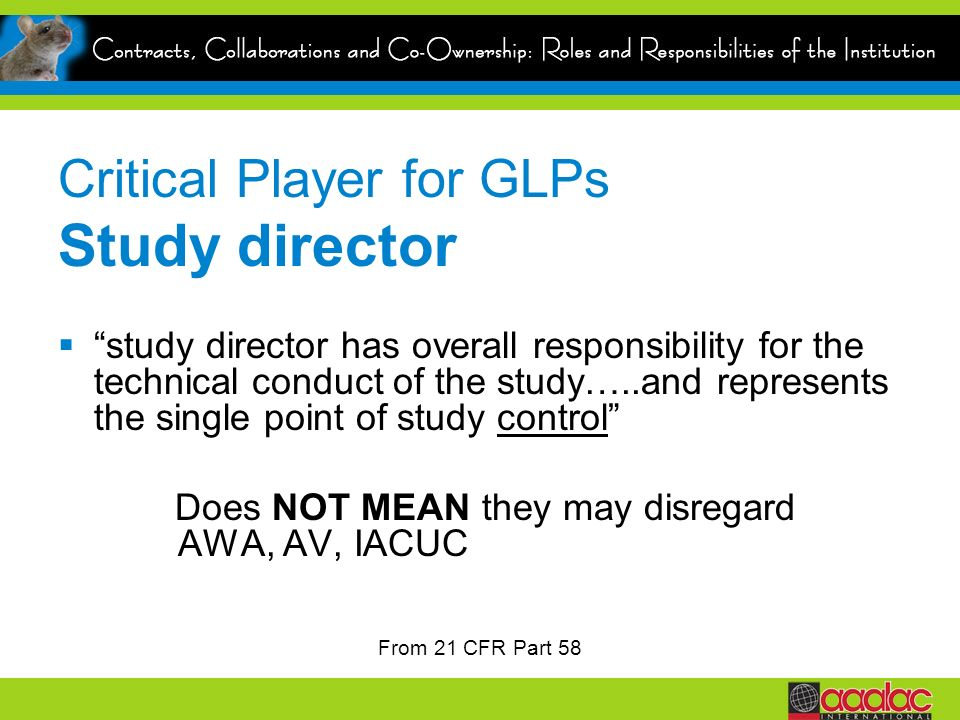 Critical Player for GLPs Study director