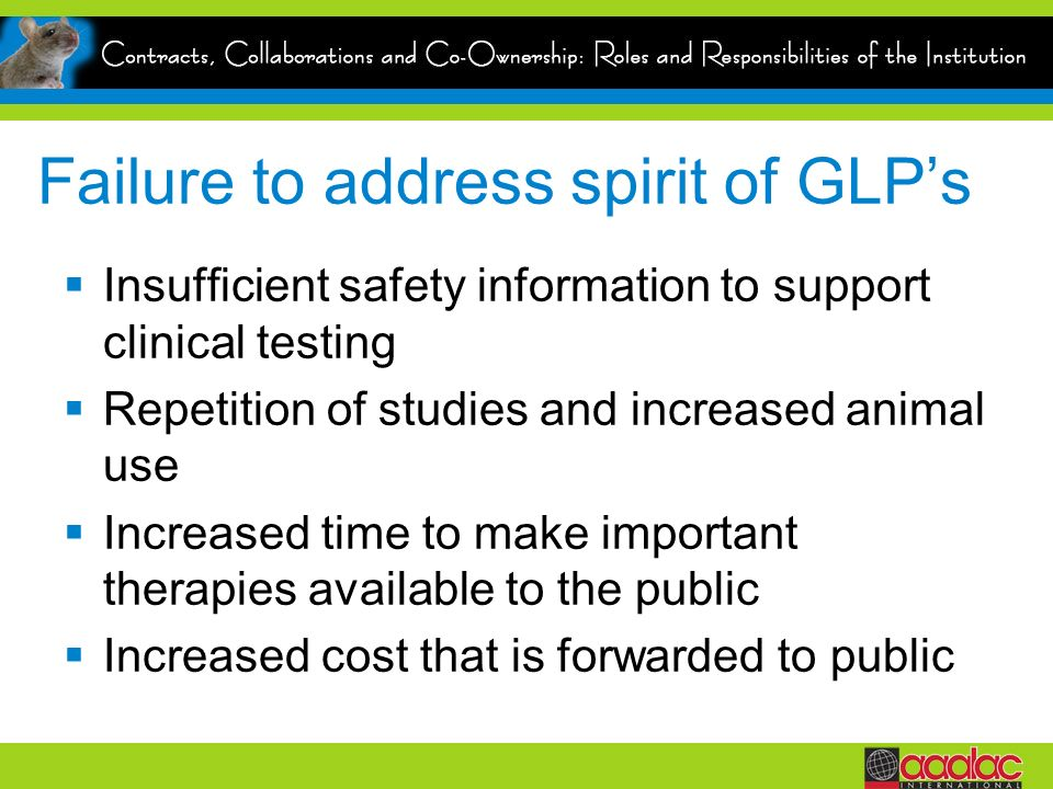 Failure to address spirit of GLP's