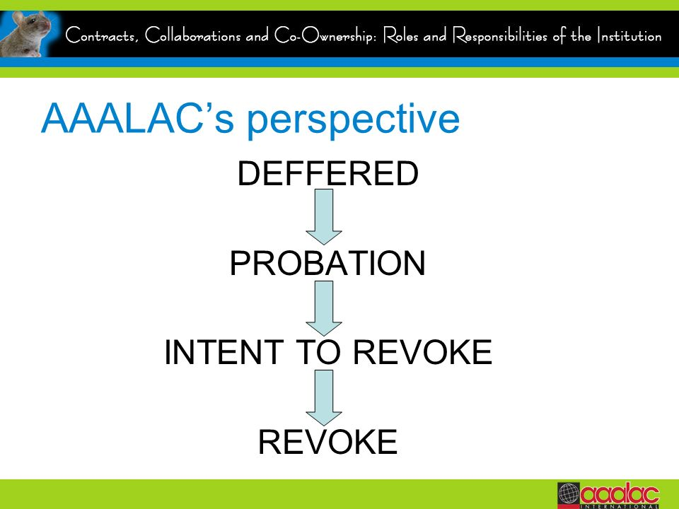 AAALAC's perspective DEFFERED PROBATION INTENT TO REVOKE REVOKE