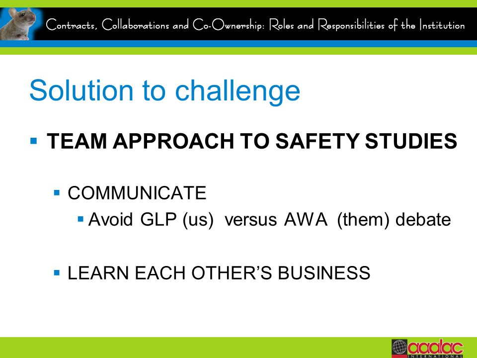 Solution to challenge TEAM APPROACH TO SAFETY STUDIES COMMUNICATE