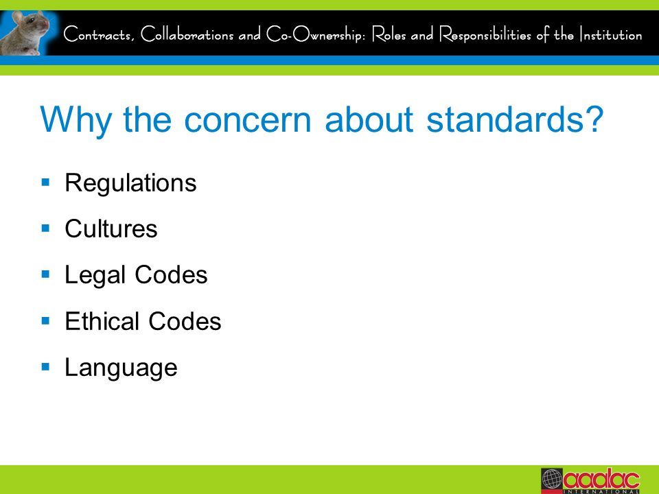 Why the concern about standards