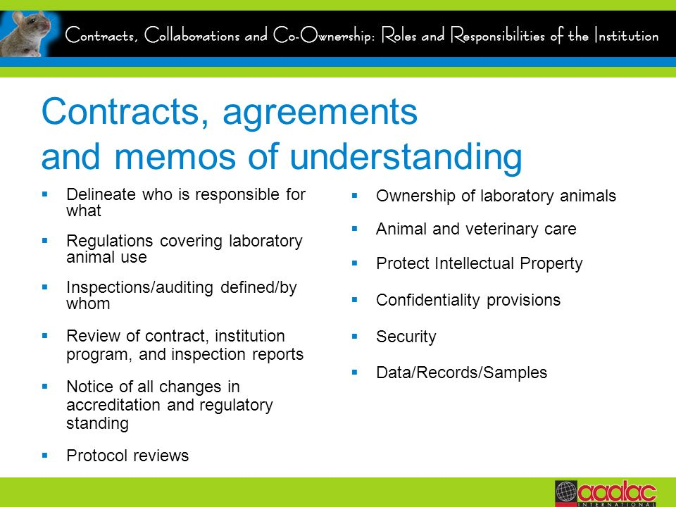 Contracts, agreements and memos of understanding