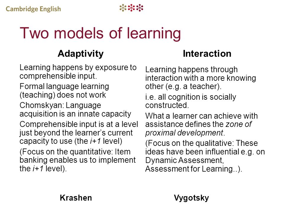 Two models of learning Adaptivity Interaction