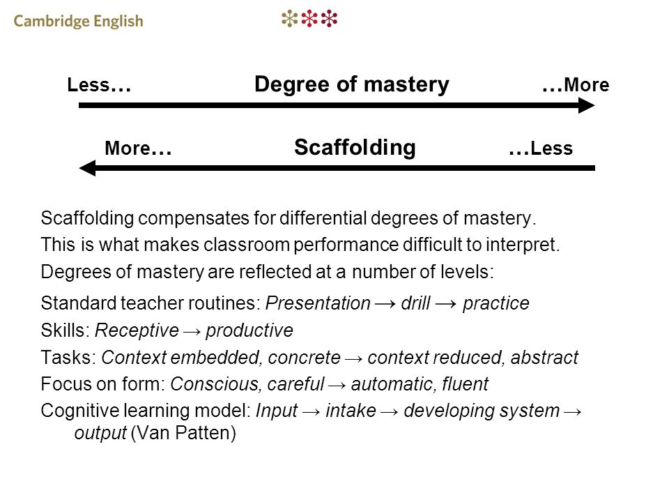 Less… Degree of mastery …More More… Scaffolding …Less