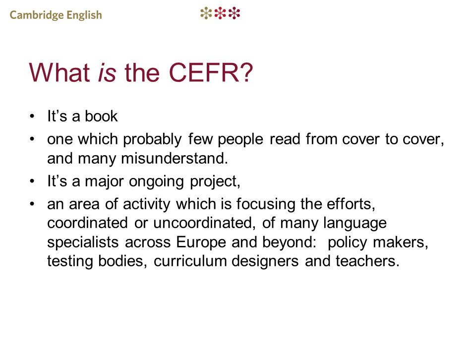 What is the CEFR It's a book