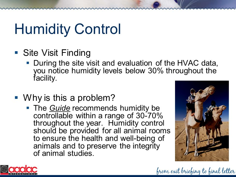 Humidity Control Site Visit Finding Why is this a problem