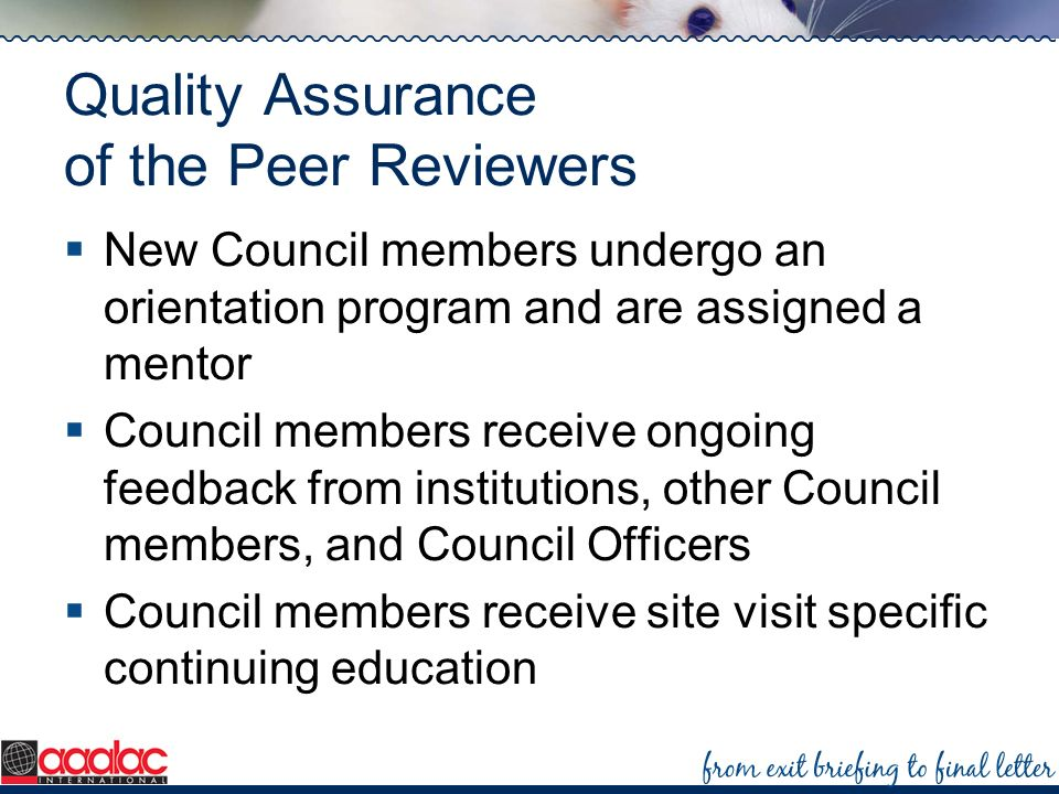 Quality Assurance of the Peer Reviewers