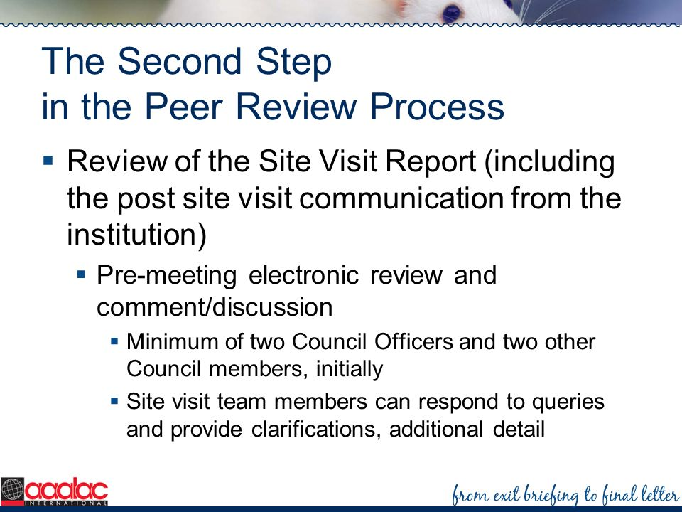 The Second Step in the Peer Review Process