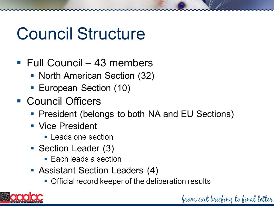 Council Structure Full Council – 43 members Council Officers