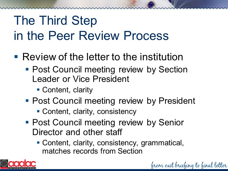 The Third Step in the Peer Review Process