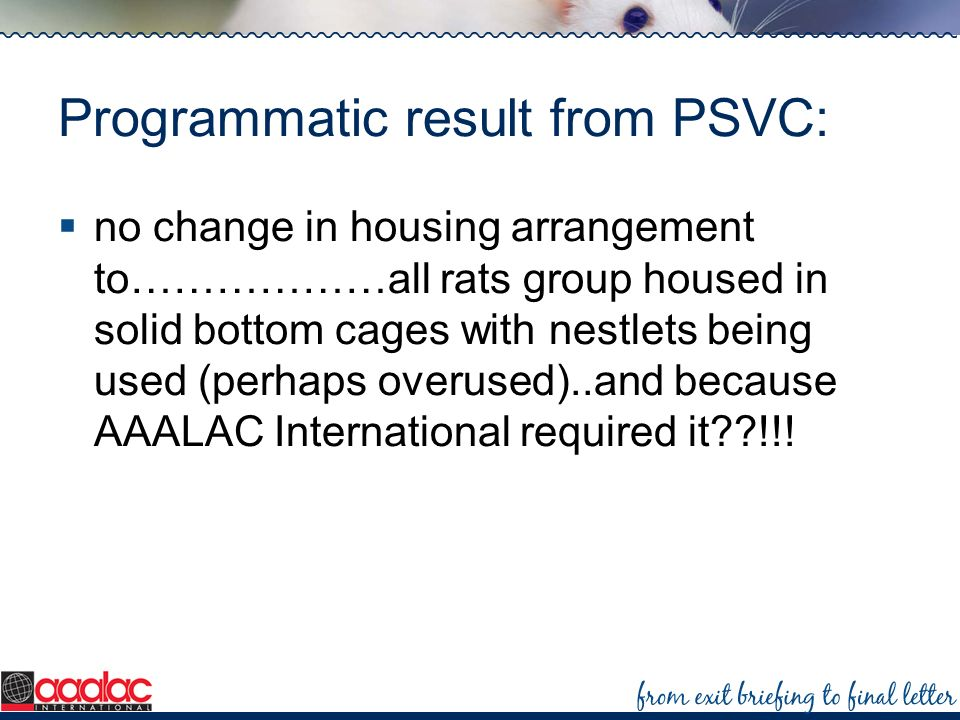 Programmatic result from PSVC: