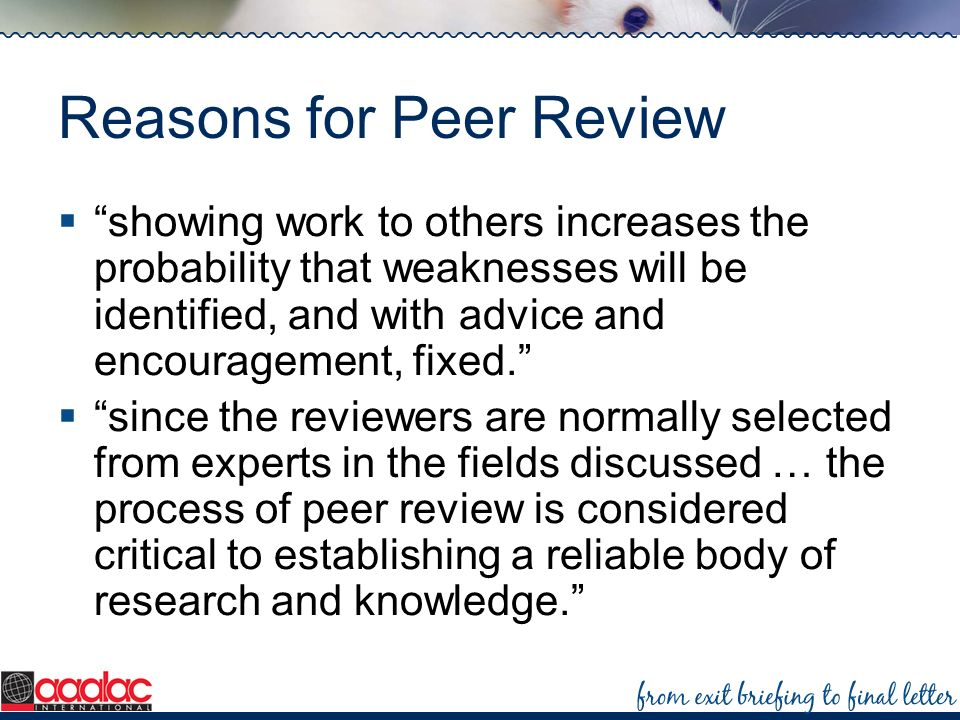 Reasons for Peer Review