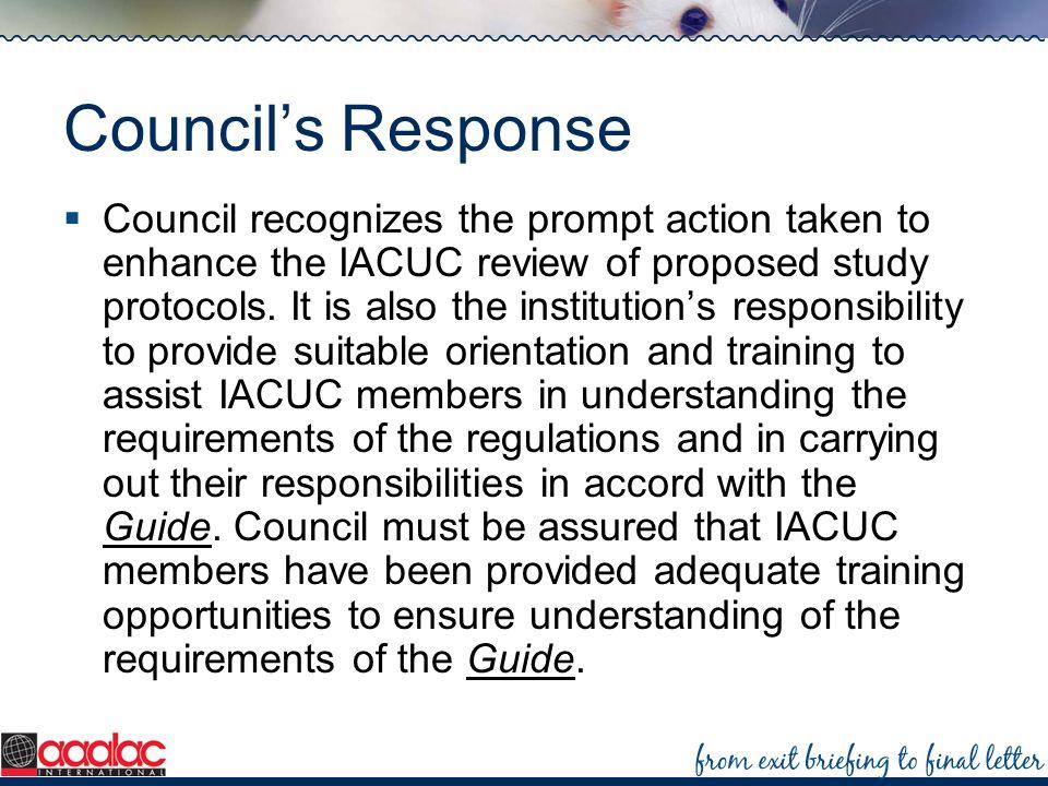 Council's Response