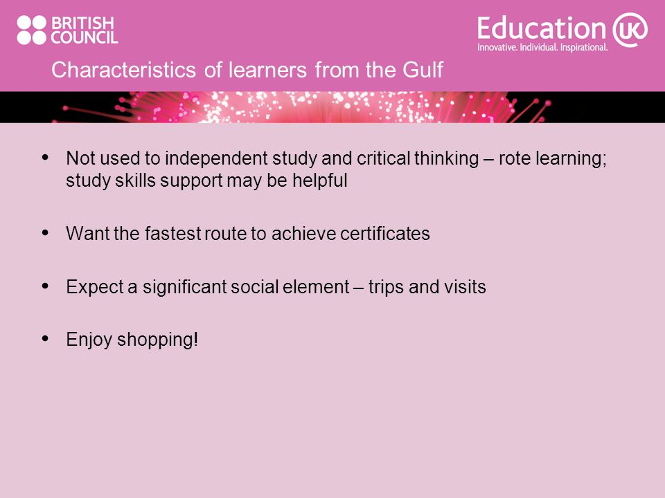 Characteristics of learners from the Gulf