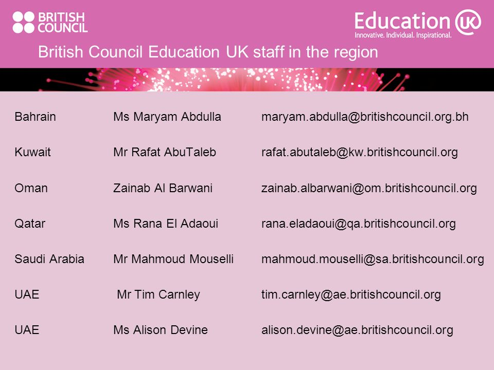 British Council Education UK staff in the region