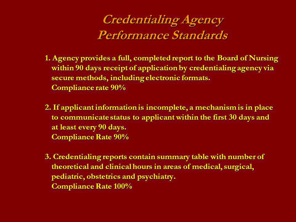 Credentialing Agency. Performance Standards 1