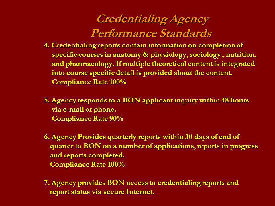 Credentialing Agency. Performance Standards. 4