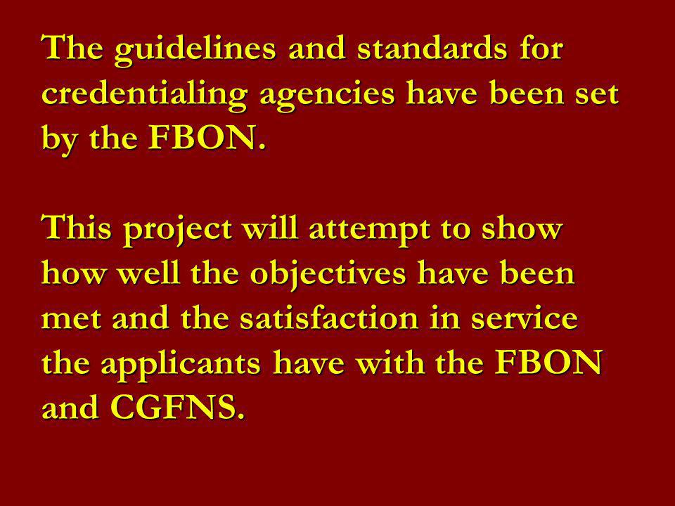 The guidelines and standards for credentialing agencies have been set by the FBON.