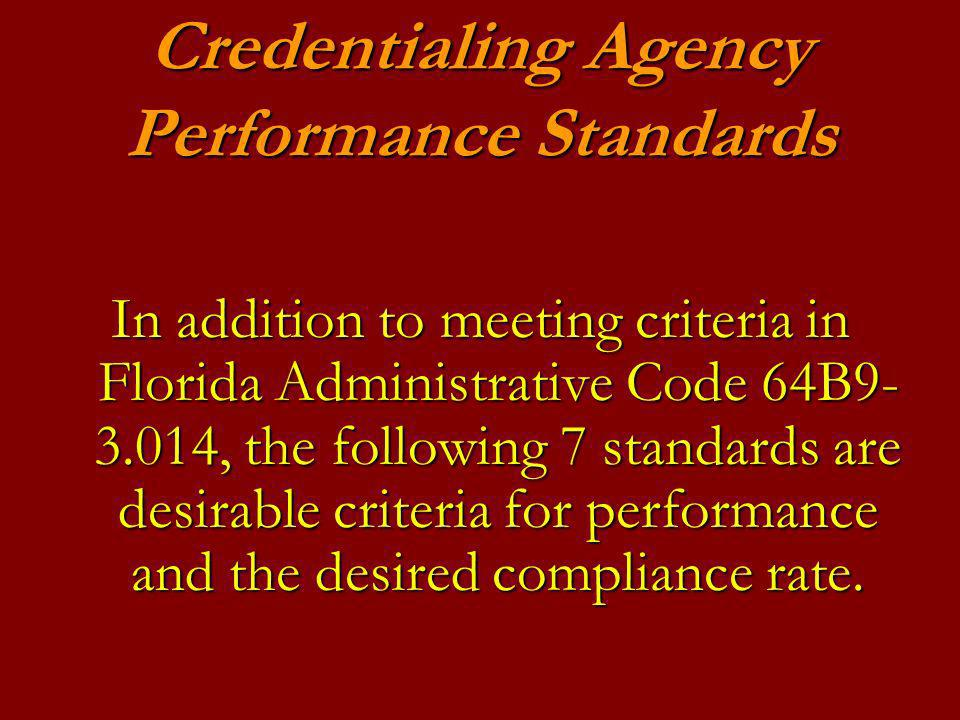 Credentialing Agency Performance Standards