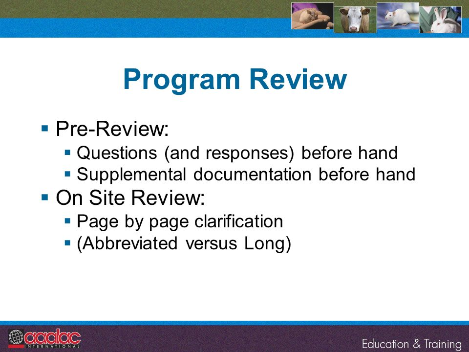 Program Review Pre-Review: On Site Review: