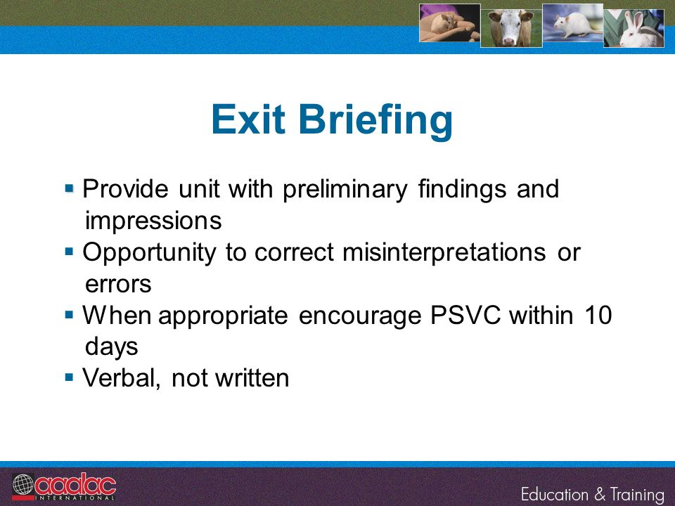 Exit Briefing Provide unit with preliminary findings and impressions