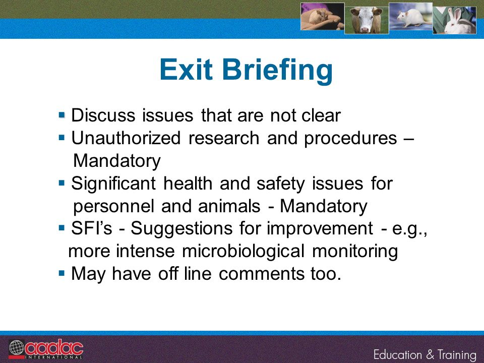 Exit Briefing Discuss issues that are not clear