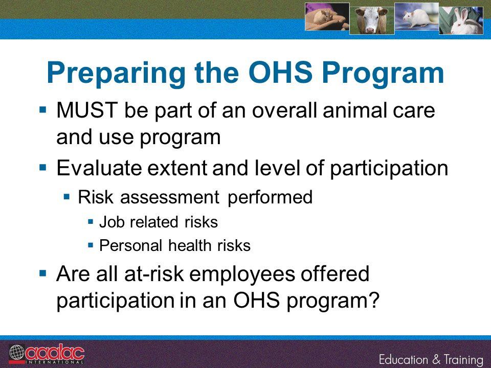 Preparing the OHS Program