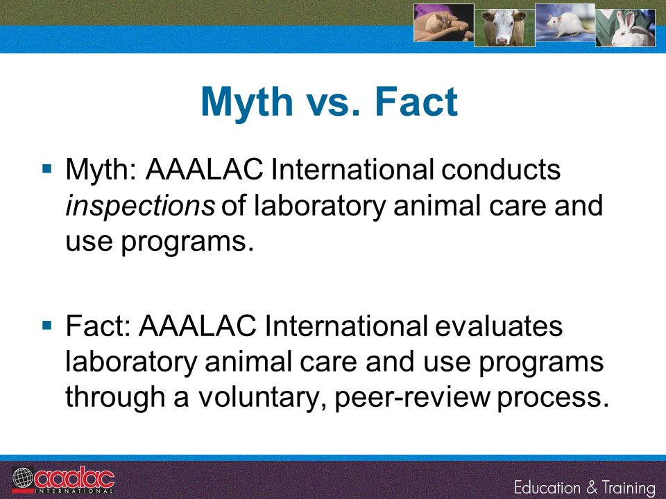 Myth vs. Fact Myth: AAALAC International conducts inspections of laboratory animal care and use programs.