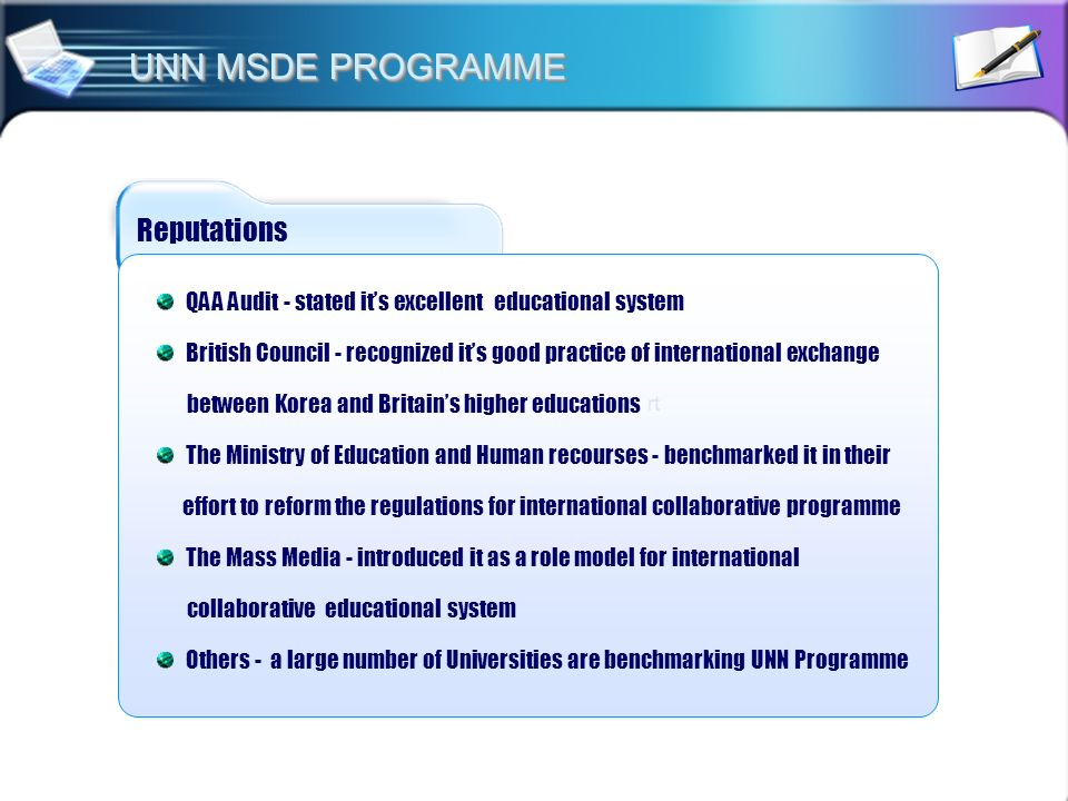 UNN MSDE PROGRAMME Reputations