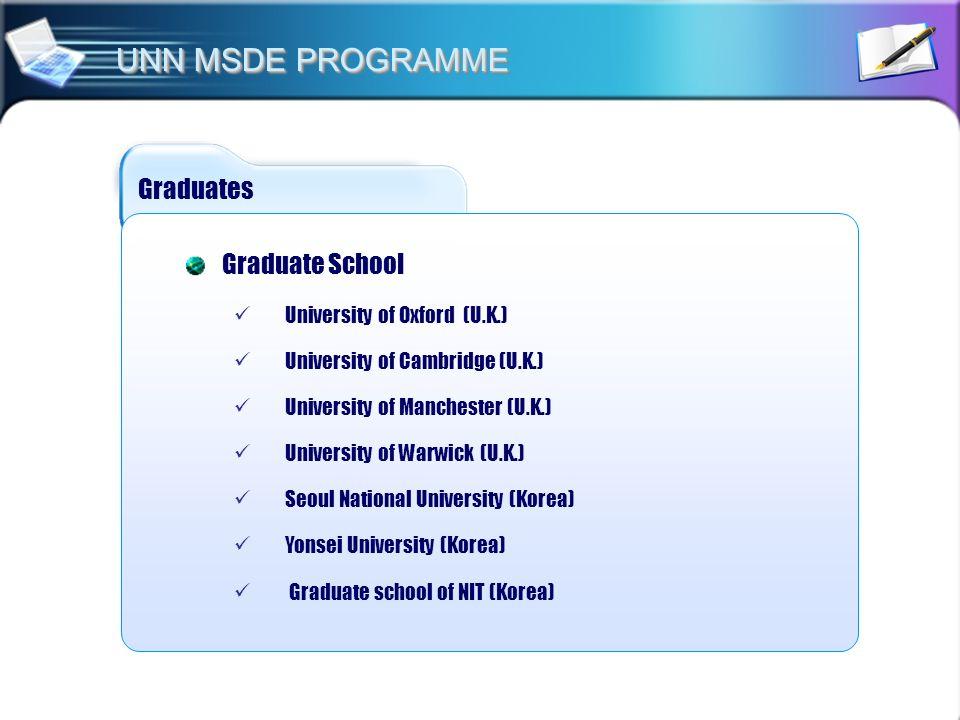 UNN MSDE PROGRAMME Graduates Graduate School