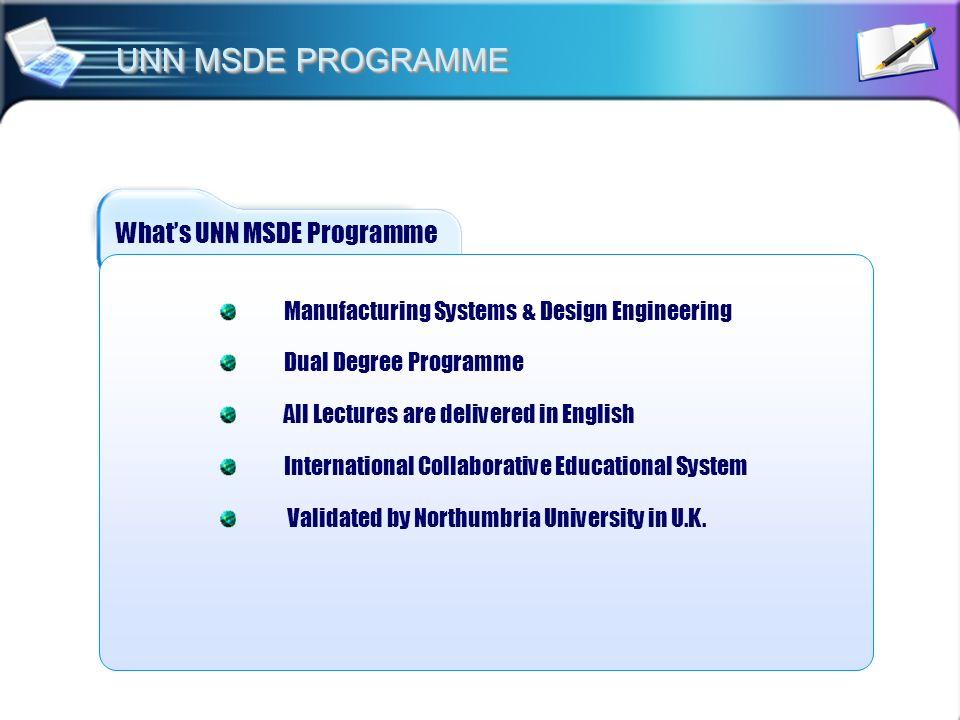UNN MSDE PROGRAMME What's UNN MSDE Programme