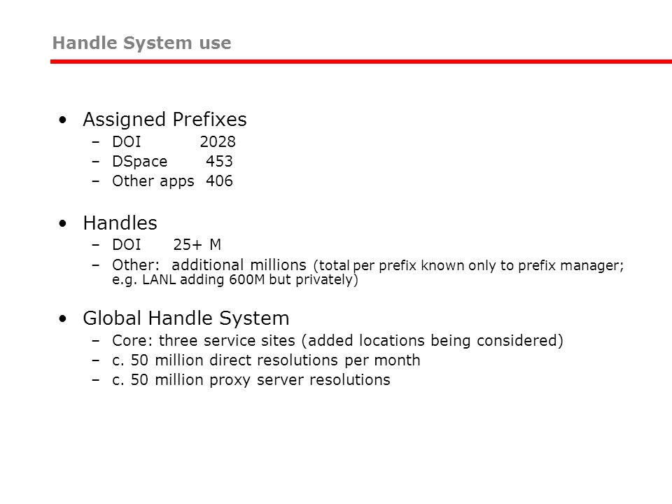 Assigned Prefixes Handles Global Handle System Handle System use