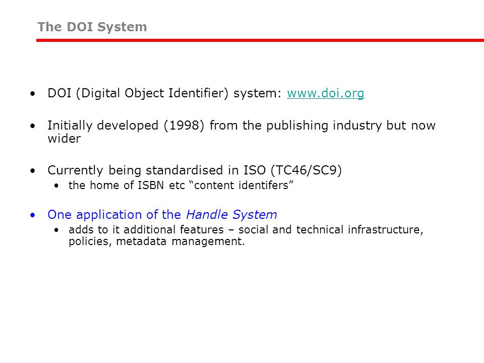 DOI (Digital Object Identifier) system: