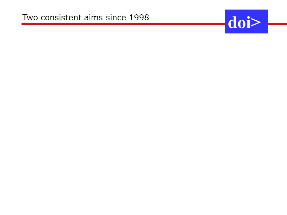 doi> Two consistent aims since 1998 COINFO Beijing Oct 06