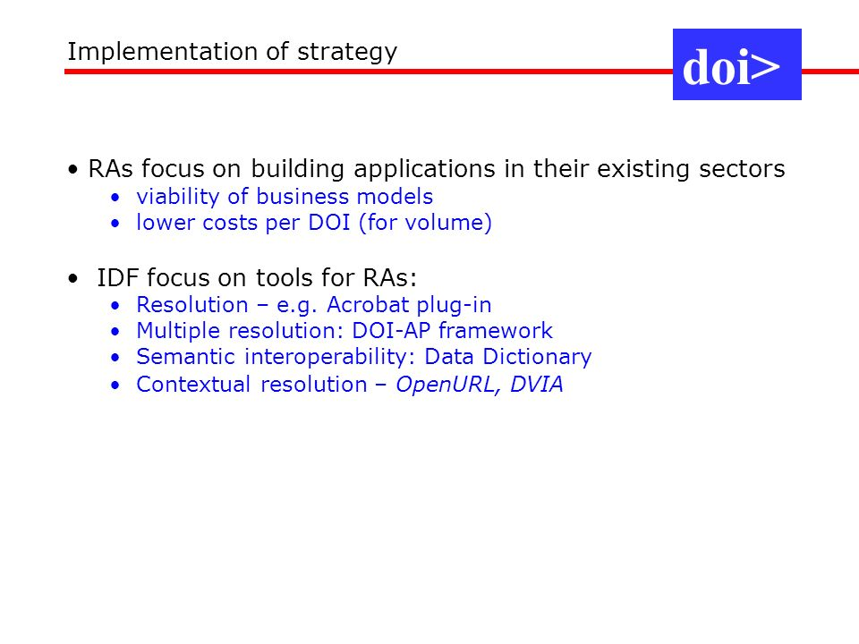 doi> Implementation of strategy