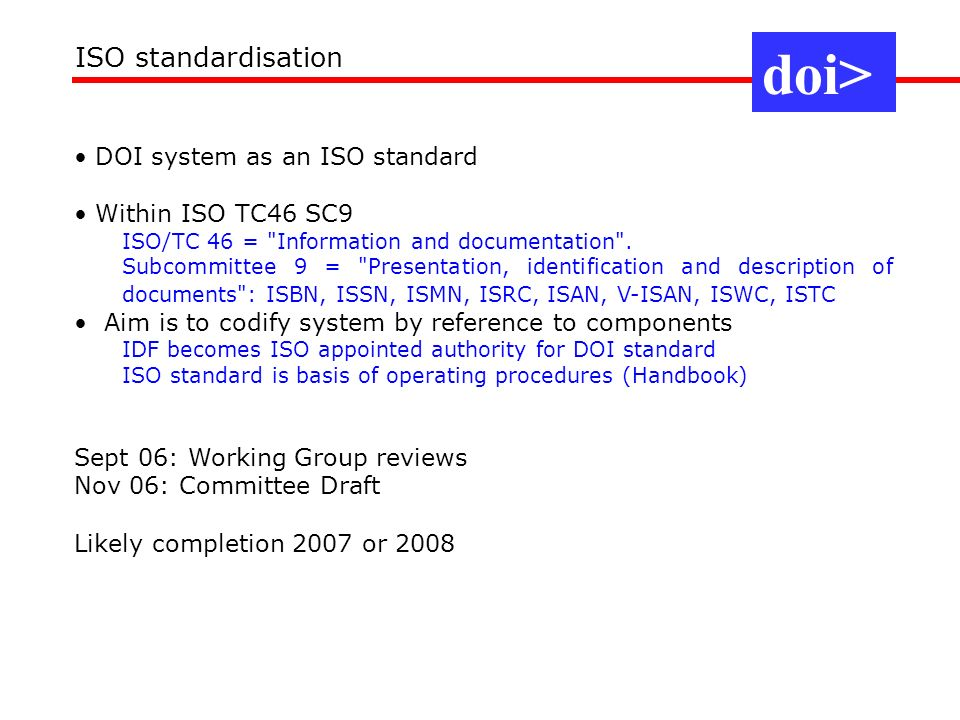 doi> ISO standardisation DOI system as an ISO standard
