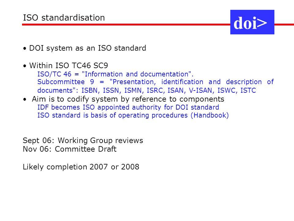 doi> ISO standardisation DOI system as an ISO standard