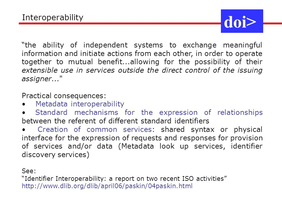 doi> Interoperability