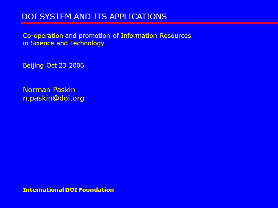 DOI SYSTEM AND ITS APPLICATIONS