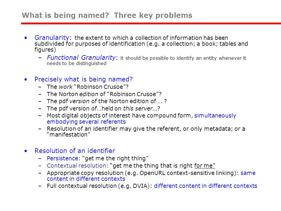 What is being named Three key problems