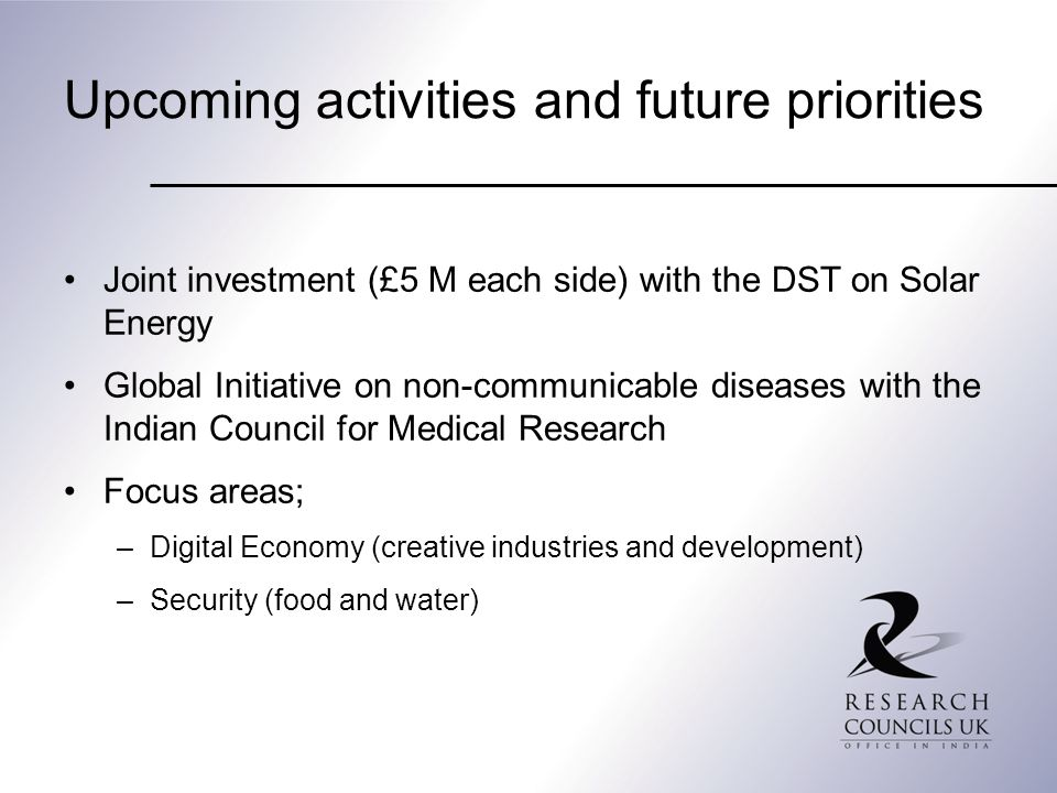 Upcoming activities and future priorities