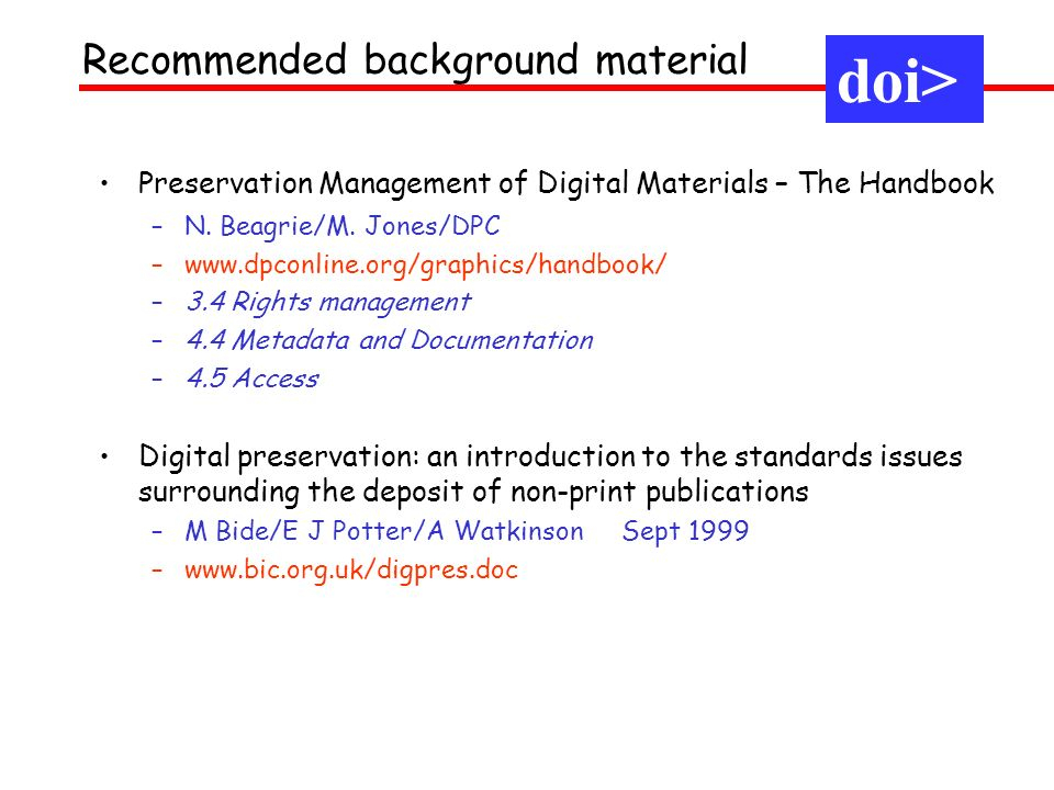 doi> Recommended background material